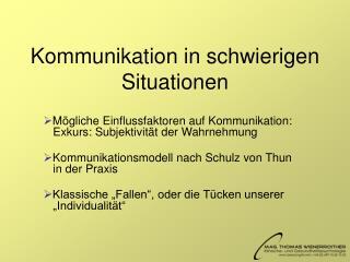 Kommunikation in schwierigen Situationen