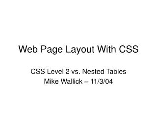 Web Page Layout With CSS