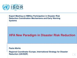 HFA New Paradigm in Disaster Risk Reduction