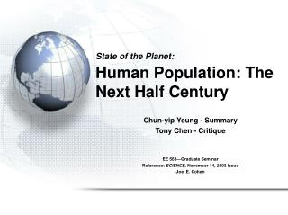 State of the Planet: Human Population: The Next Half Century