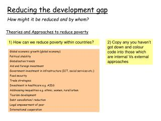 Reducing the development gap How might it be reduced and by whom?