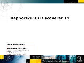 Rapportkurs i Discoverer 11i