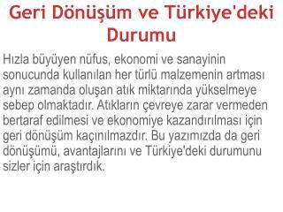 Geri Dönüşüm ve Türkiye'deki Durumu