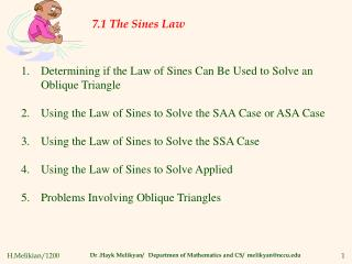 7.1 The Sines Law