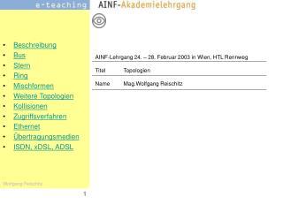 AINF-Lehrgang 24. – 28. Februar 2003 in Wien, HTL Rennweg TitelTopologien