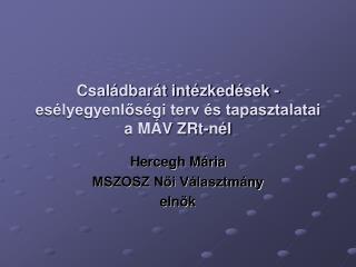 Családbarát intézkedések - esélyegyenlőségi terv és tapasztalatai a MÁV ZRt-nél