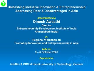 Unleashing Inclusive Innovation & Entrepreneurship  Addressing Poor & Disadvantaged in Asia