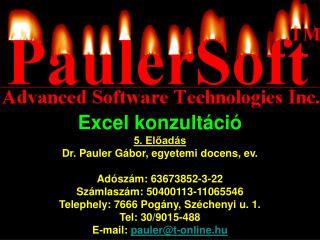 Excel konzultáció 5. Előadás Dr. Pauler  Gá bor , egyetemi docens, ev. Adószám: 63673852-3-22