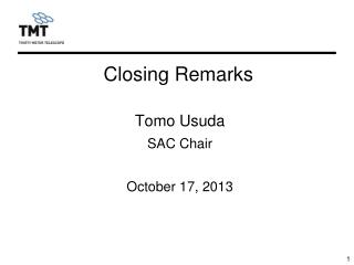 Tomo Usuda SAC Chair October 17, 2013