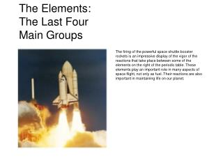 The Elements: The Last Four Main Groups