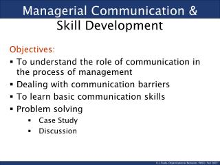 Managerial Communication &  Skill Development