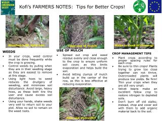 Kofi's FARMERS NOTES:  Tips for Better Crops!