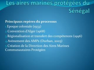 Les aires marines protégées du Sénégal