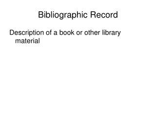 Bibliographic Record