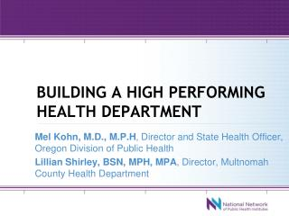 Building a high performing health department