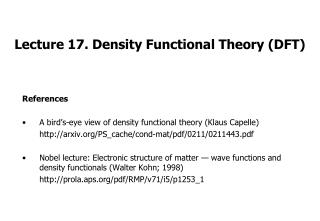 Lecture 17. Density Functional Theory (DFT)