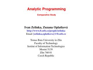 Analytic Programming  -  Comparative Study