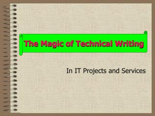In IT Projects and Services