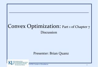 Convex Optimization: Part 1 of Chapter 7 Discussion