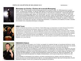 PERFIL DE LOS ARTISTAS DE WA-LEAGUE 2013  ( REFERENCIA)