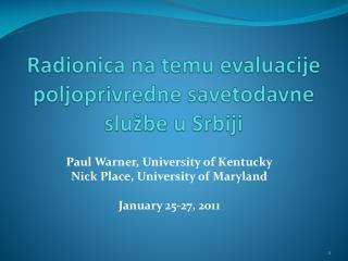 Radionica na temu evaluacije poljoprivredne savetodavne slu žbe u Srbiji