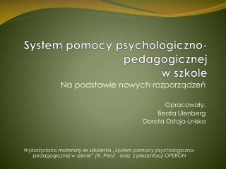 System pomocy psychologiczno-pedagogicznej w szkole
