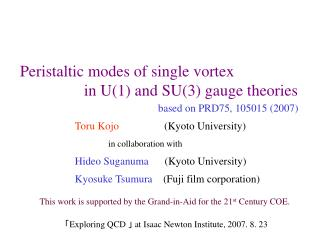 Peristaltic modes of single vortex                  in U(1) and SU(3) gauge theories