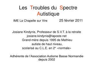 Les   T roubles du   S pectre   A utistique IME La Chapelle sur Vire  25 février 2011