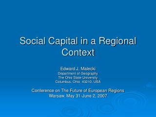Social Capital in a Regional Context