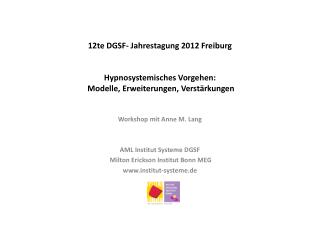 Workshop mit Anne M. Lang AML Institut Systeme DGSF  Milton Erickson  I nstitut Bonn MEG