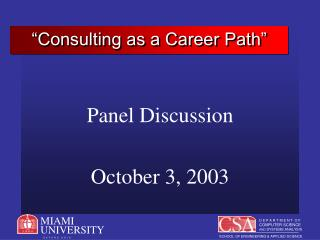 """Consulting as a Career Path"""
