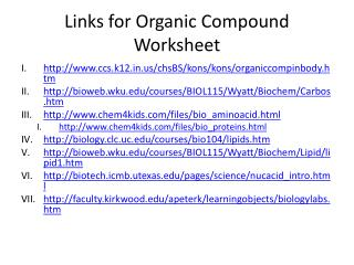 Links for Organic Compound Worksheet