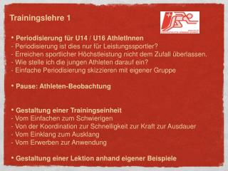 Periodisierung für U14 / U16 AthletInnen - Periodisierung ist dies nur für Leistungssportler?