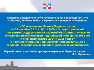 Первый заместитель министра здравоохранения Пермского края Л.Н. Чудинова