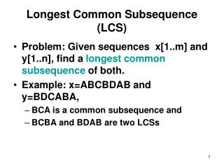 Longest Common Subsequence LCS