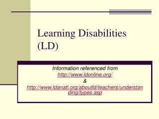 Learning Disabilities LD