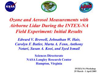 Ozone and Aerosol Measurements with Airborne Lidar During the INTEX-NA