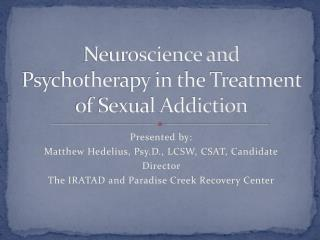 Neuroscience and Psychotherapy in the Treatment of Sexual Addiction