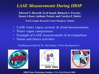 LASE Measurements During IHOP