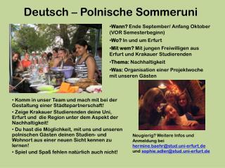 Deutsch – Polnische Sommeruni