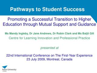Pathways to Student Success