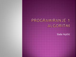 Programiranje 1 algoritmi