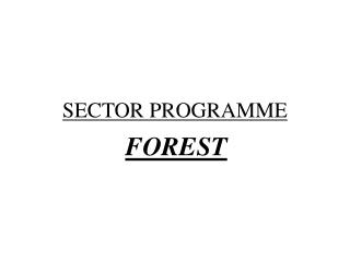 SECTOR PROGRAMME