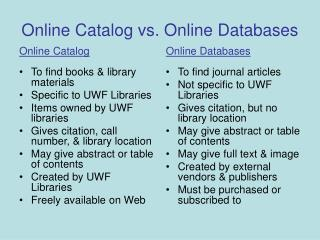 Online Catalog vs. Online Databases