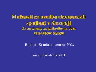 Možnosti za uvedbo ekonomskih spodbud v Sloveniji Zavarovanje za poškodbe na delu