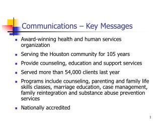 Communications – Key Messages
