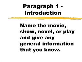 Paragraph 1 - Introduction