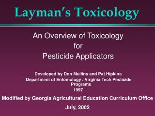 Layman s Toxicology