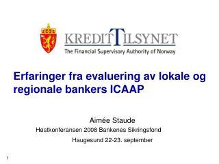 Erfaringer fra evaluering av lokale og regionale bankers ICAAP