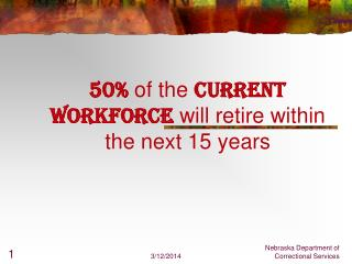 50 of the current workforce will retire within the next 15 years